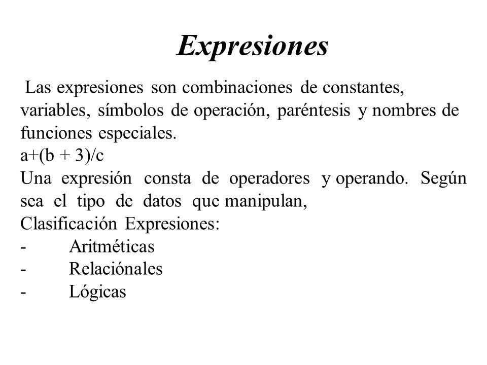 Expresiones Las expresiones son combinaciones de constantes, variables, símbolos de operación, paréntesis y nombres de funciones especiales. a+(b + 3)
