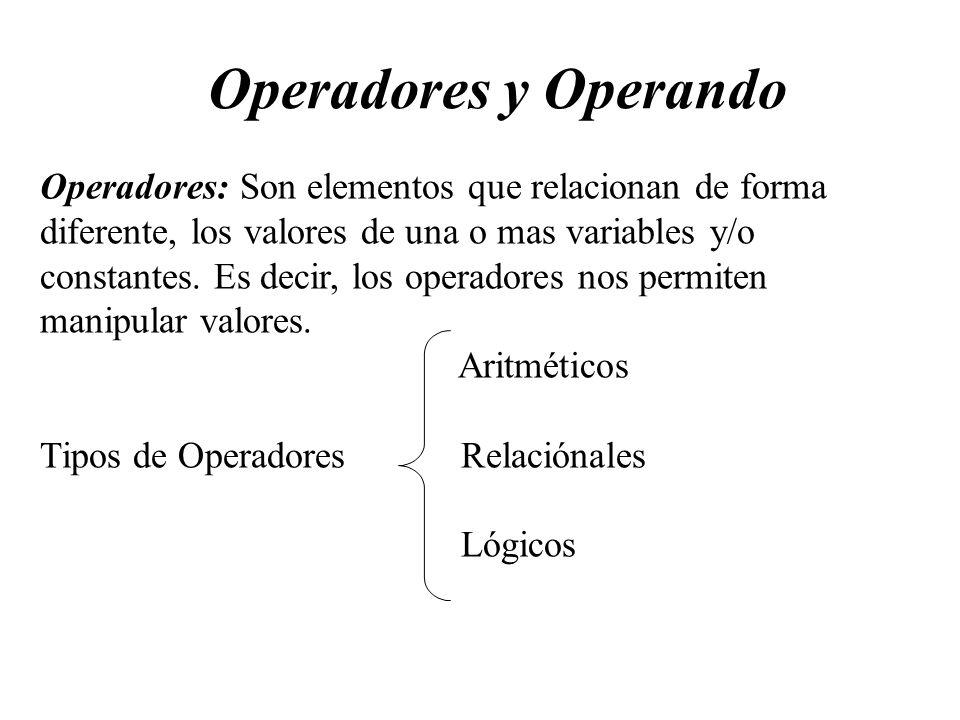 Operadores y Operando Operadores: Son elementos que relacionan de forma diferente, los valores de una o mas variables y/o constantes. Es decir, los op