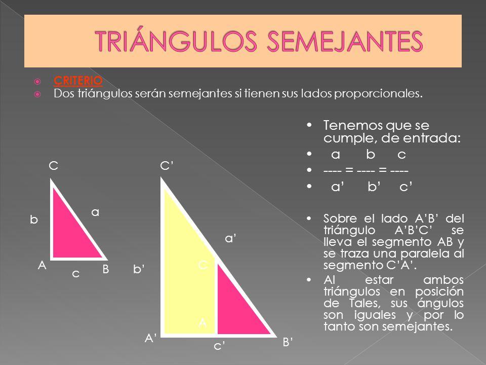 CRITERIO Dos triángulos serán semejantes si tienen sus lados proporcionales. b c a b c a Tenemos que se cumple, de entrada: a b c ---- = ---- = ---- a