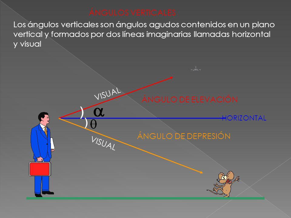 ÁNGULOS VERTICALES Los ángulos verticales son ángulos agudos contenidos en un plano vertical y formados por dos líneas imaginarias llamadas horizontal