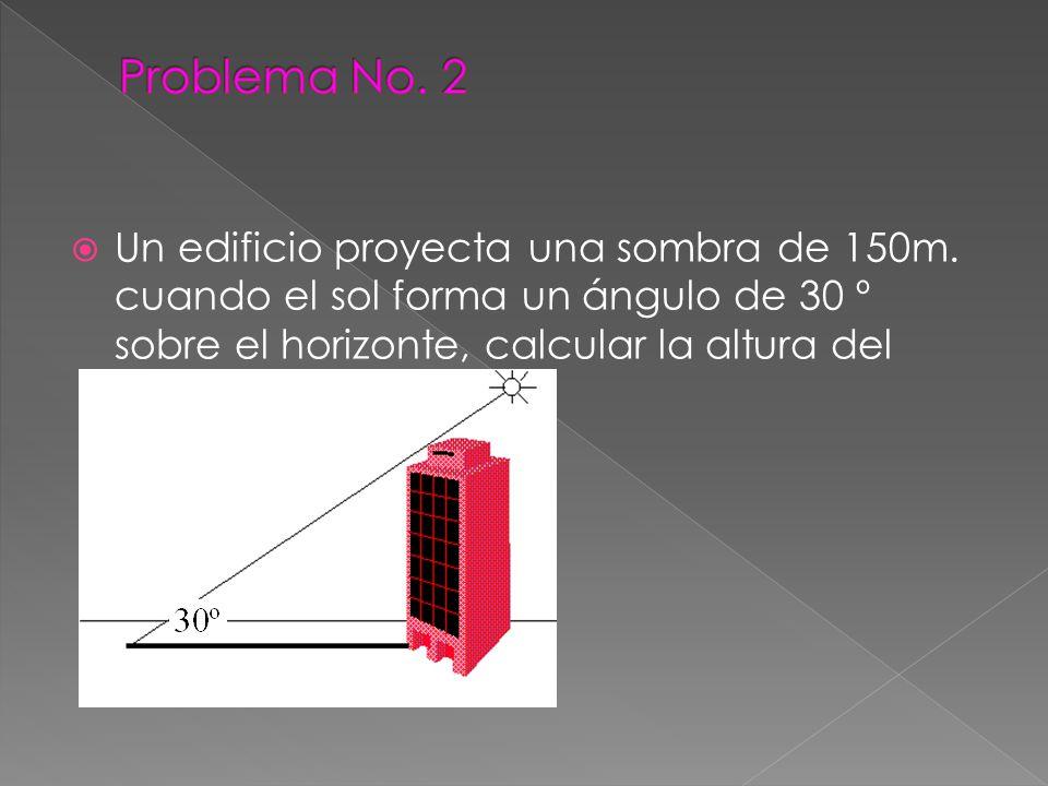Un edificio proyecta una sombra de 150m. cuando el sol forma un ángulo de 30 º sobre el horizonte, calcular la altura del edificio.