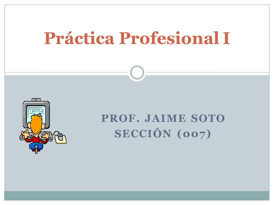PROF. JAIME SOTO SECCIÓN (007) Práctica Profesional I