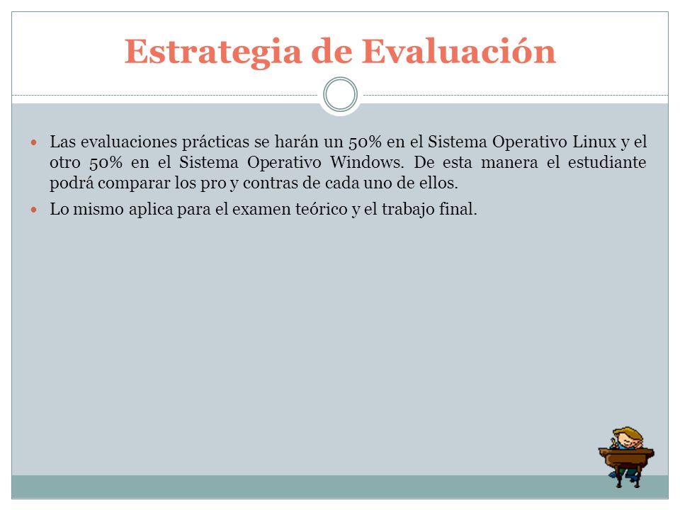 Las evaluaciones prácticas se harán un 50% en el Sistema Operativo Linux y el otro 50% en el Sistema Operativo Windows. De esta manera el estudiante p