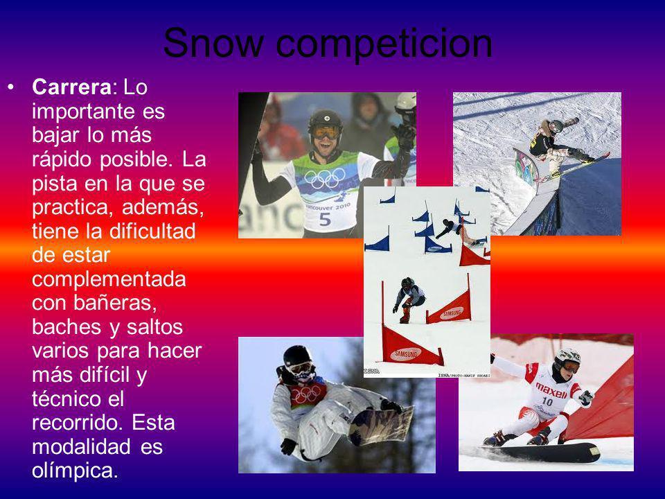 Snow El snowboard es un deporte extremo en el que se utiliza una tabla de snowboard para deslizarse sobre una pendiente parcial o totalmente cubierta