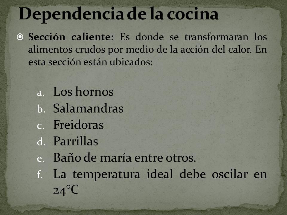 Sección caliente: Es donde se transformaran los alimentos crudos por medio de la acción del calor. En esta sección están ubicados: a. Los hornos b. Sa