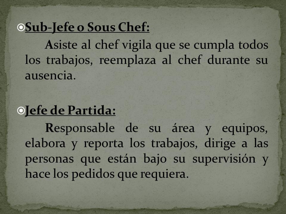 Sub-Jefe o Sous Chef: Asiste al chef vigila que se cumpla todos los trabajos, reemplaza al chef durante su ausencia. Jefe de Partida: Responsable de s