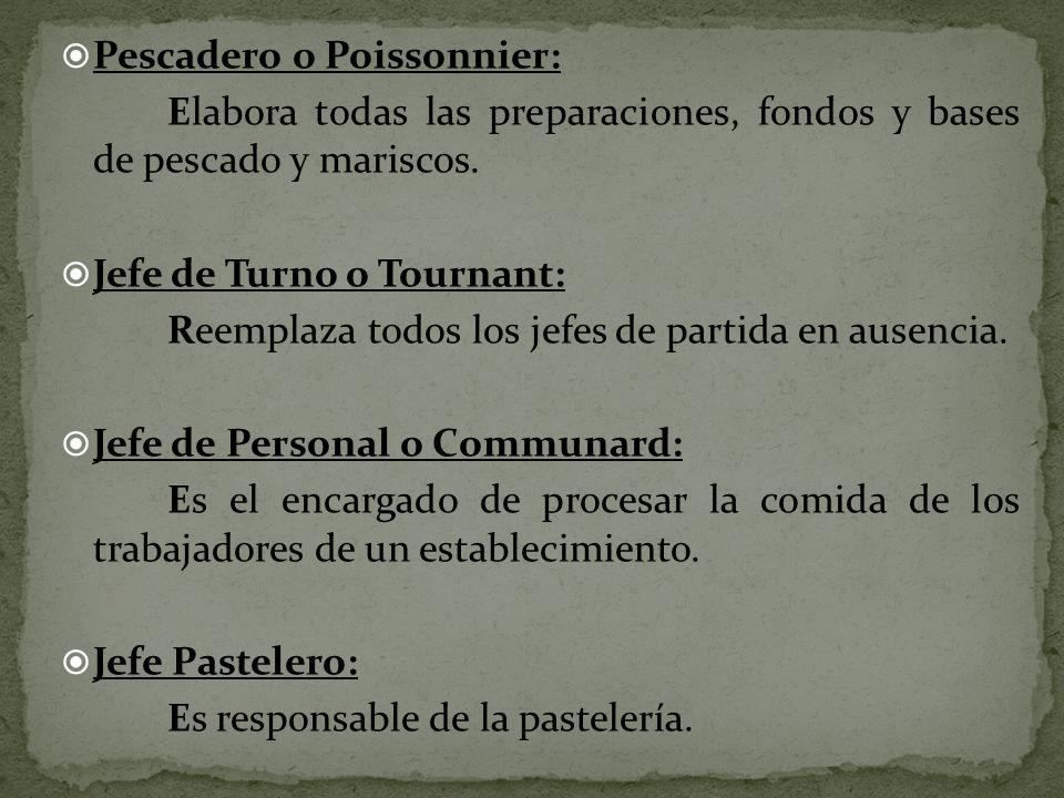 Pescadero o Poissonnier: Elabora todas las preparaciones, fondos y bases de pescado y mariscos. Jefe de Turno o Tournant: Reemplaza todos los jefes de