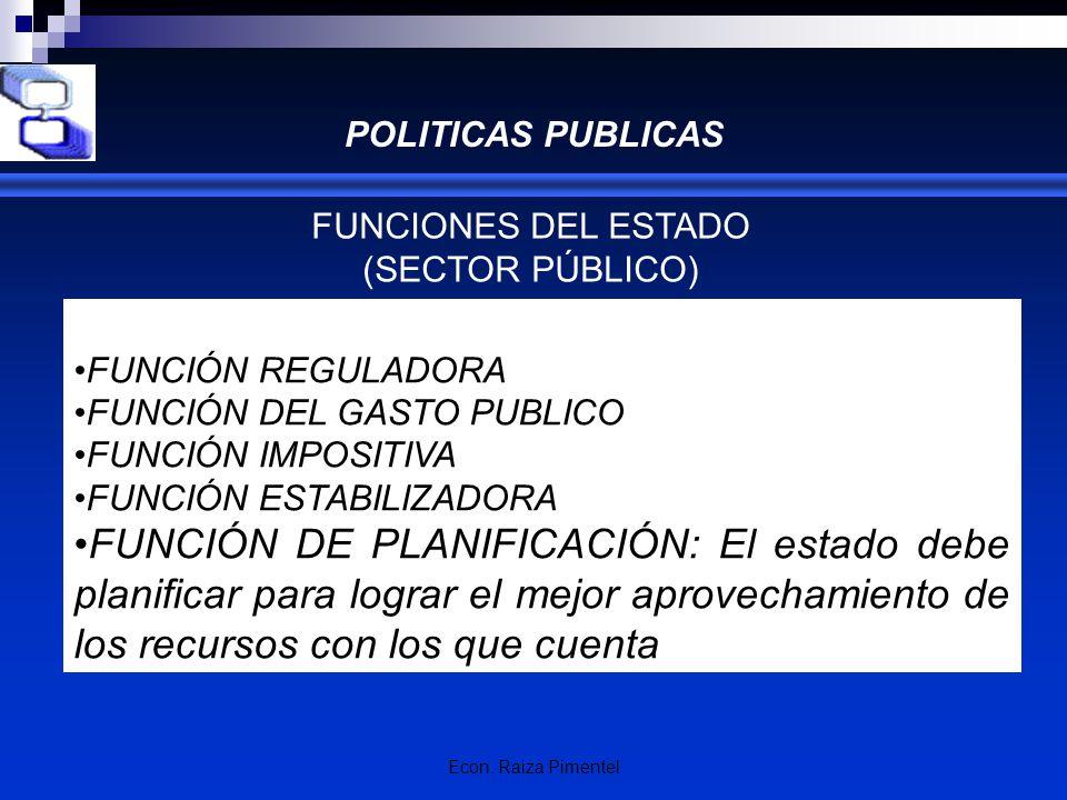 Econ. Raiza Pimentel POLITICAS PUBLICAS FUNCIONES DEL ESTADO (SECTOR PÚBLICO) FUNCIÓN REGULADORA FUNCIÓN DEL GASTO PUBLICO FUNCIÓN IMPOSITIVA FUNCIÓN