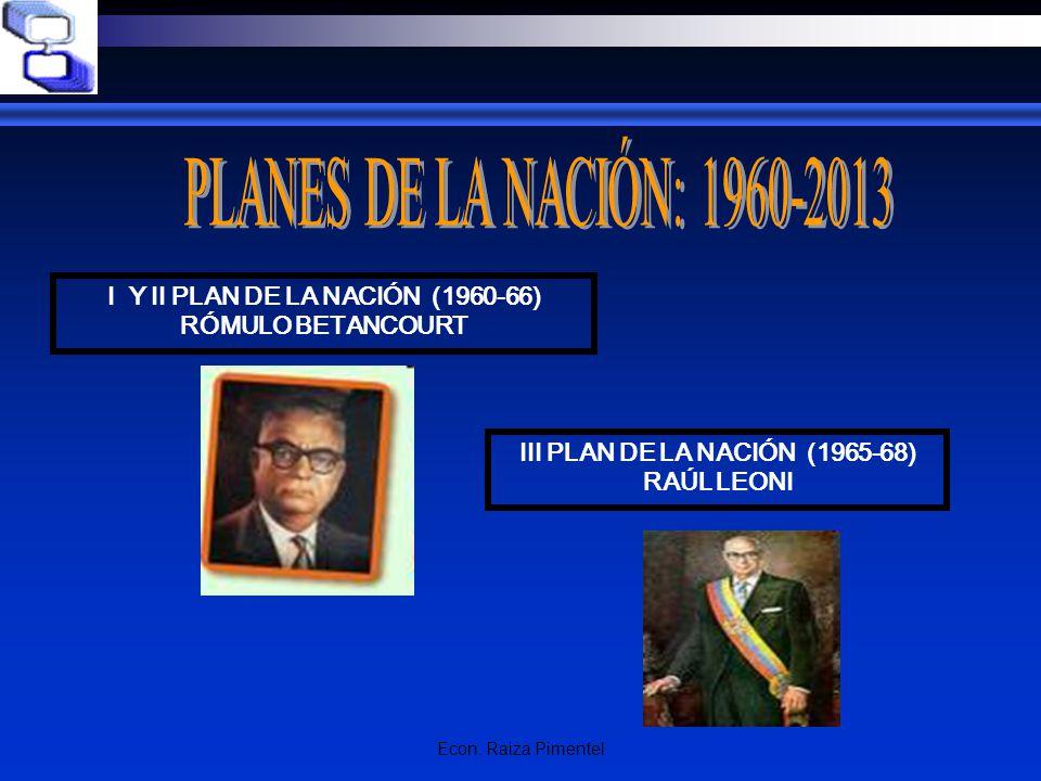 Econ. Raiza Pimentel I Y II PLAN DE LA NACIÓN (1960-66) RÓMULO BETANCOURT III PLAN DE LA NACIÓN (1965-68) RAÚL LEONI