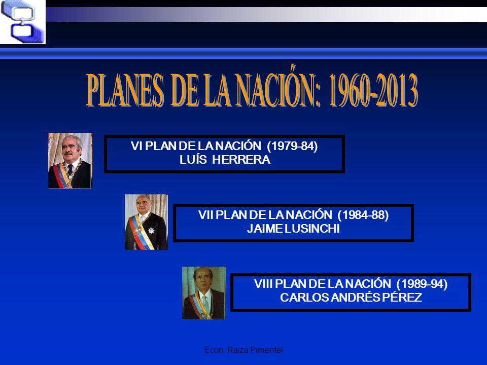 Econ. Raiza Pimentel VI PLAN DE LA NACIÓN (1979-84) LUÍS HERRERA VII PLAN DE LA NACIÓN (1984-88) JAIME LUSINCHI VIII PLAN DE LA NACIÓN (1989-94) CARLO