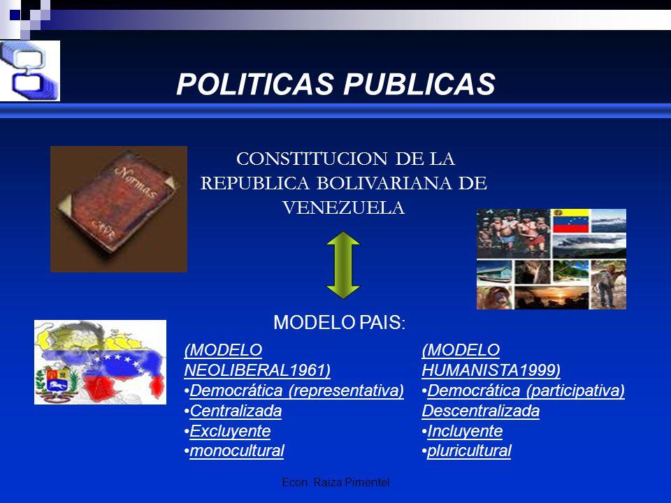 Econ. Raiza Pimentel POLITICAS PUBLICAS CONSTITUCION DE LA REPUBLICA BOLIVARIANA DE VENEZUELA MODELO PAIS : (MODELO HUMANISTA1999) Democrática (partic