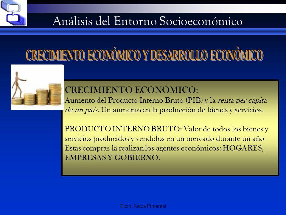 Econ. Raiza Pimentel Análisis del Entorno Socioeconómico CRECIMIENTO ECONÓMICO: Aumento del Producto Interno Bruto (PIB) y la renta per cápita de un p
