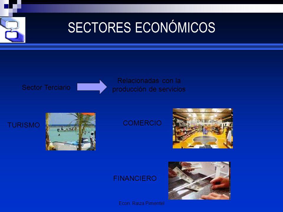 Econ. Raiza Pimentel SECTORES ECONÓMICOS Sector Terciario TURISMO FINANCIERO Relacionadas con la producción de servicios COMERCIO