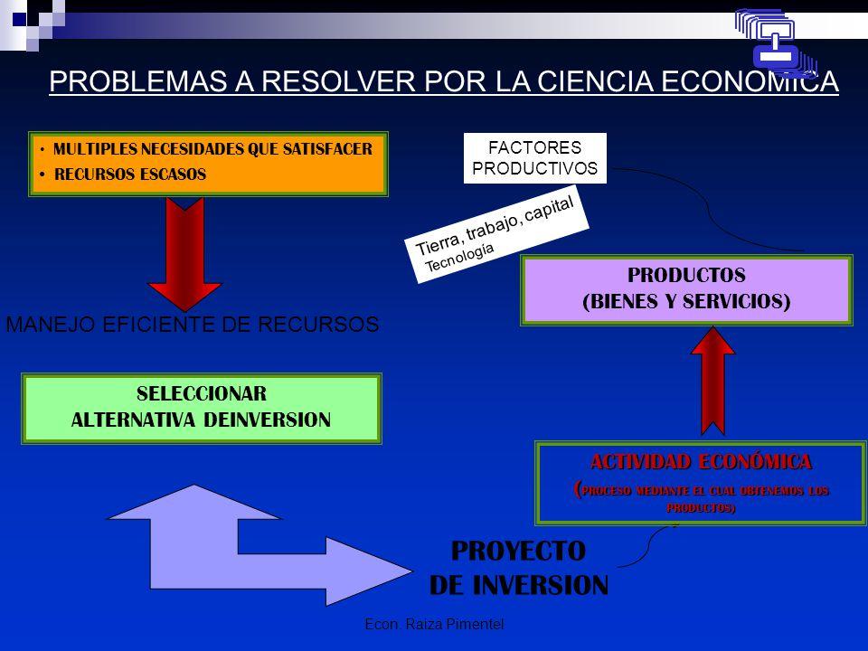 Econ. Raiza Pimentel PROBLEMAS A RESOLVER POR LA CIENCIA ECONOMICA PROYECTO DE INVERSION SELECCIONAR ALTERNATIVA DEINVERSION PRODUCTOS (BIENES Y SERVI