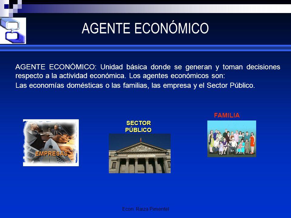 Econ. Raiza Pimentel AGENTE ECONÓMICO AGENTE ECONÓMICO: Unidad básica donde se generan y toman decisiones respecto a la actividad económica. Los agent
