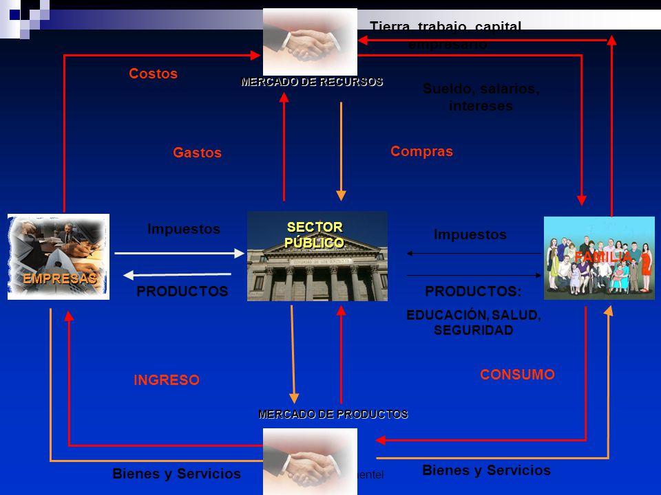 Econ. Raiza Pimentel SECTOR PÚBLICO MERCADO DE RECURSOS MERCADO DE PRODUCTOS CONSUMO Impuestos Costos EMPRESAS INGRESO PRODUCTOS: EDUCACIÓN, SALUD, SE