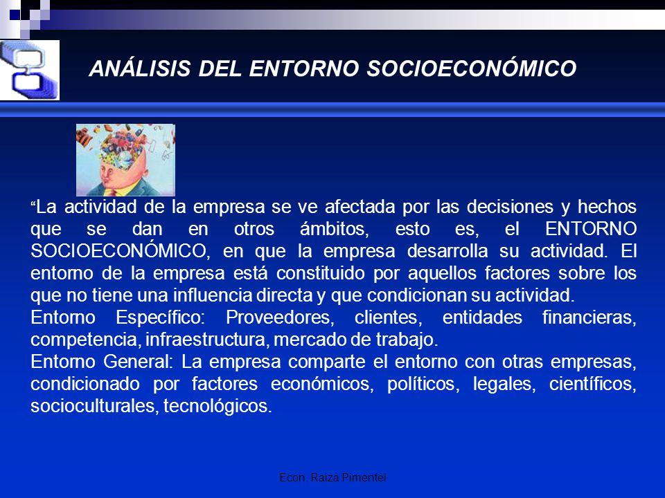 Econ. Raiza Pimentel ANÁLISIS DEL ENTORNO SOCIOECONÓMICO La actividad de la empresa se ve afectada por las decisiones y hechos que se dan en otros ámb