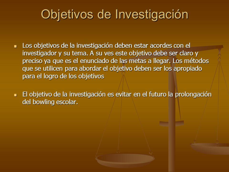 Objetivos de Investigación Los objetivos de la investigación deben estar acordes con el investigador y su tema.