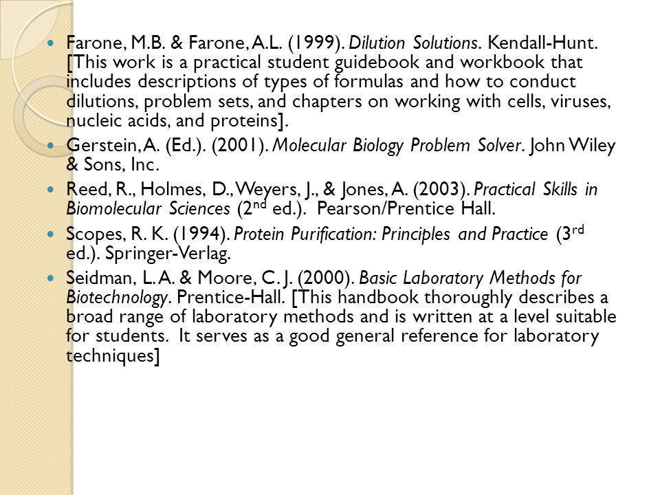 Farone, M.B.& Farone, A.L. (1999). Dilution Solutions.