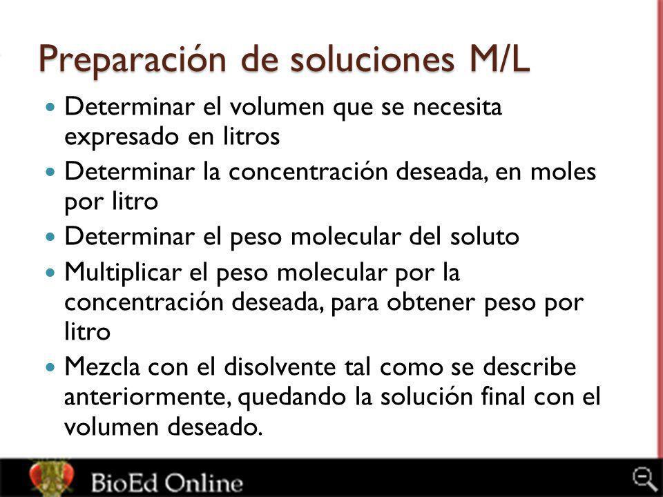 Preparación de soluciones M/L Determinar el volumen que se necesita expresado en litros Determinar la concentración deseada, en moles por litro Determ
