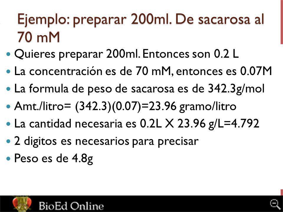 Ejemplo: preparar 200ml. De sacarosa al 70 mM Quieres preparar 200ml. Entonces son 0.2 L La concentración es de 70 mM, entonces es 0.07M La formula de