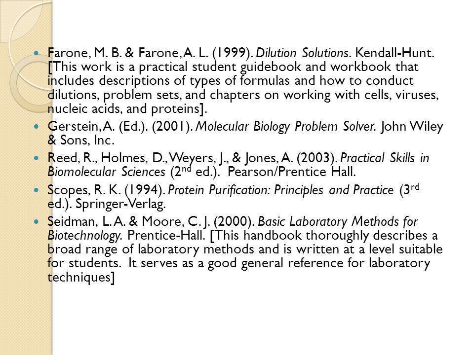 Farone, M.B. & Farone, A. L. (1999). Dilution Solutions.