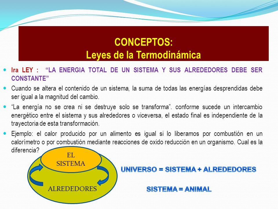 lra LEY : LA ENERGIA TOTAL DE UN SISTEMA Y SUS ALREDEDORES DEBE SER CONSTANTE Cuando se altera el contenido de un sistema, la suma de todas las energí