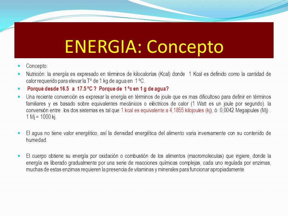 Concepto: Nutrición: la energía es expresado en términos de kilocalorías (Kcal) donde 1 Kcal es definido como la cantidad de calor requerido para elev