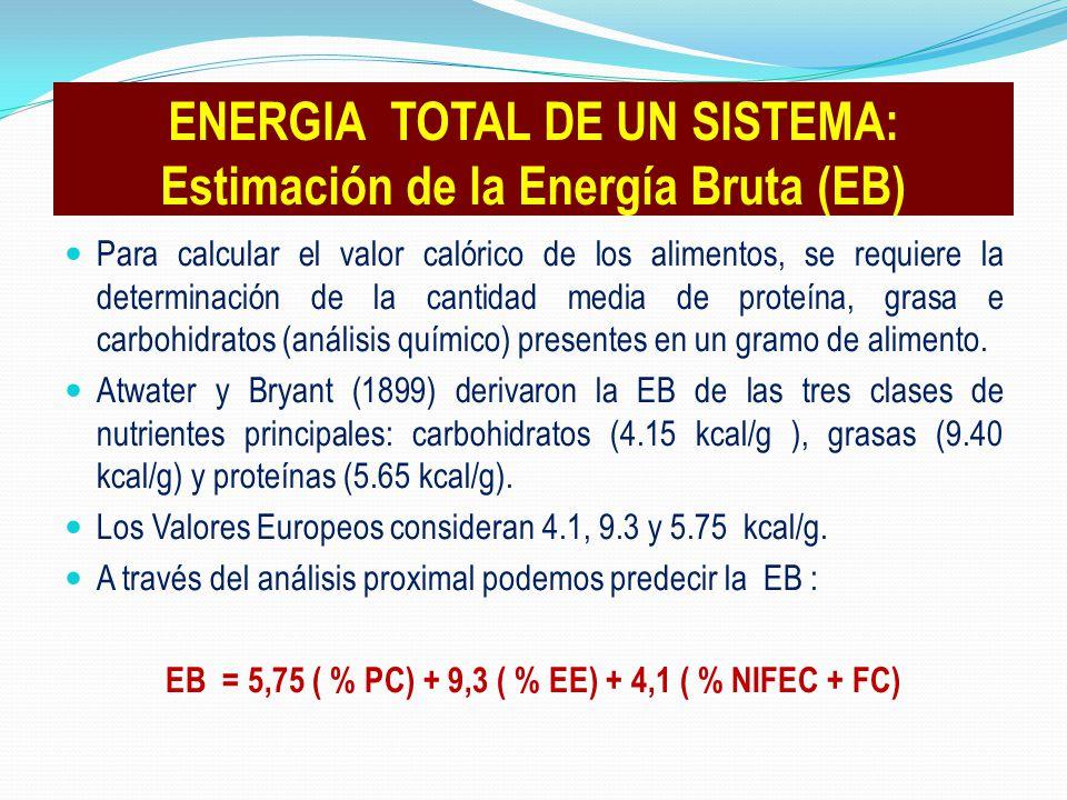 Para calcular el valor calórico de los alimentos, se requiere la determinación de la cantidad media de proteína, grasa e carbohidratos (análisis quími