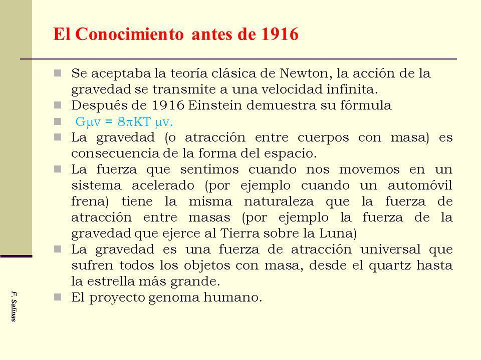 F. Salinas El Conocimiento antes de 1916 Se aceptaba la teoría clásica de Newton, la acción de la gravedad se transmite a una velocidad infinita. Desp