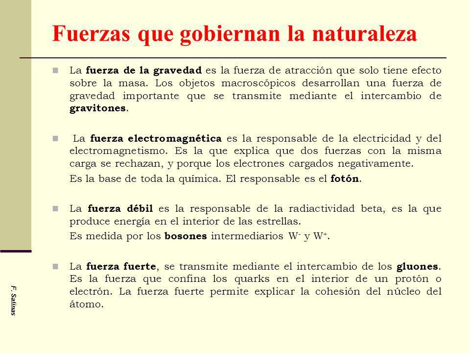 Fuerzas que gobiernan la naturaleza La fuerza de la gravedad es la fuerza de atracción que solo tiene efecto sobre la masa. Los objetos macroscópicos
