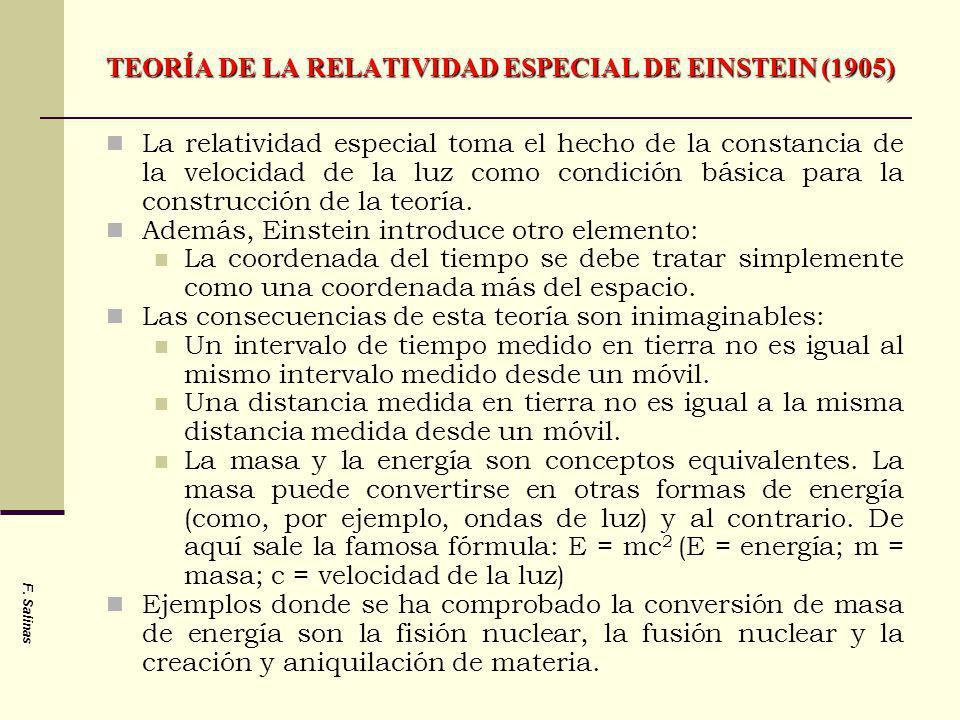 TEORÍA DE LA RELATIVIDAD ESPECIAL DE EINSTEIN (1905) La relatividad especial toma el hecho de la constancia de la velocidad de la luz como condición b