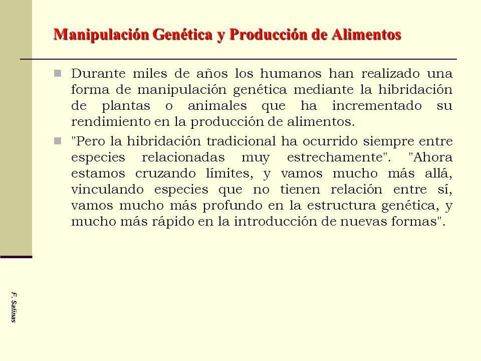 F. Salinas Manipulación Genética y Producción de Alimentos Durante miles de años los humanos han realizado una forma de manipulación genética mediante