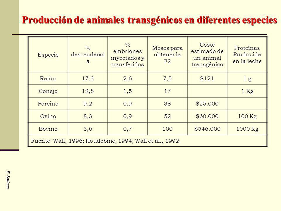 F. Salinas Producción de animales transgénicos en diferentes especies Especie % descendenci a % embriones inyectados y transferidos Meses para obtener
