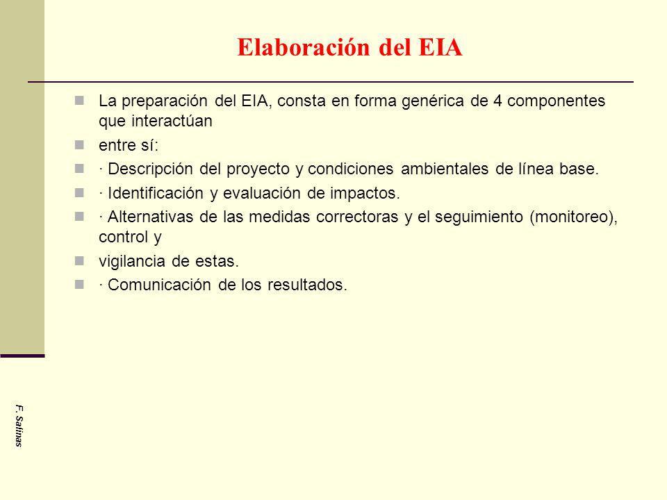 Elaboración del EIA La preparación del EIA, consta en forma genérica de 4 componentes que interactúan entre sí: · Descripción del proyecto y condicion