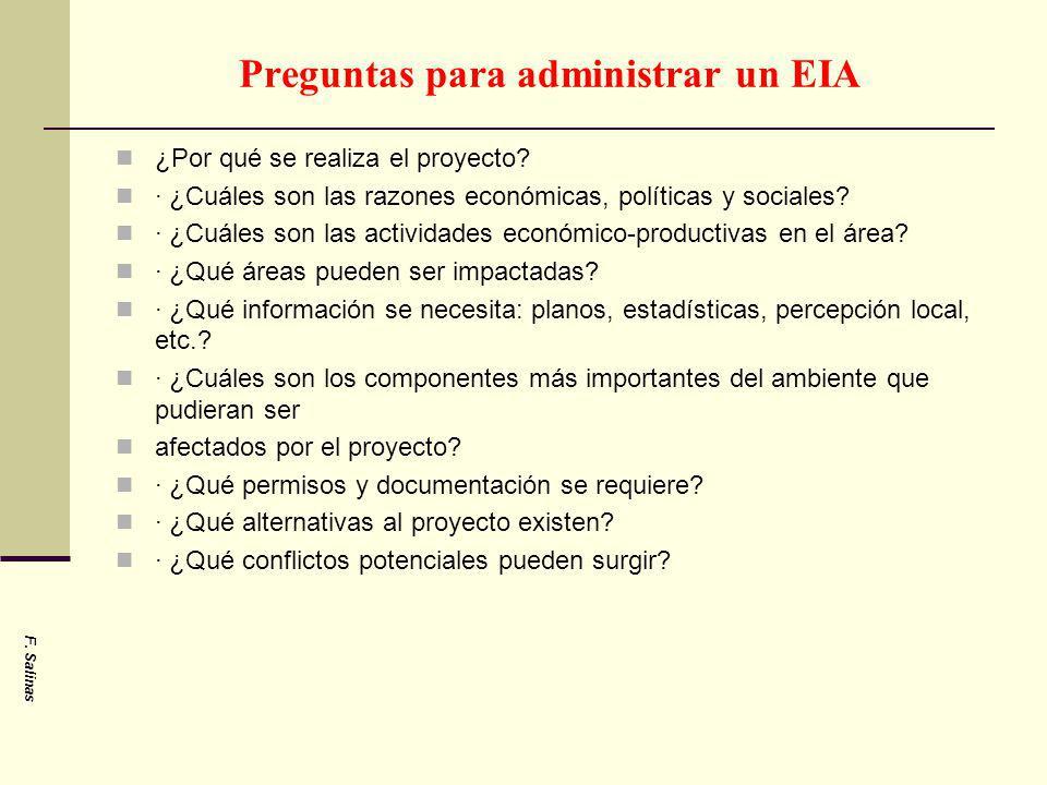 Preguntas para administrar un EIA ¿Por qué se realiza el proyecto? · ¿Cuáles son las razones económicas, políticas y sociales? · ¿Cuáles son las activ