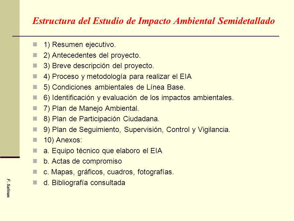 Estructura del Estudio de Impacto Ambiental Semidetallado 1) Resumen ejecutivo. 2) Antecedentes del proyecto. 3) Breve descripción del proyecto. 4) Pr
