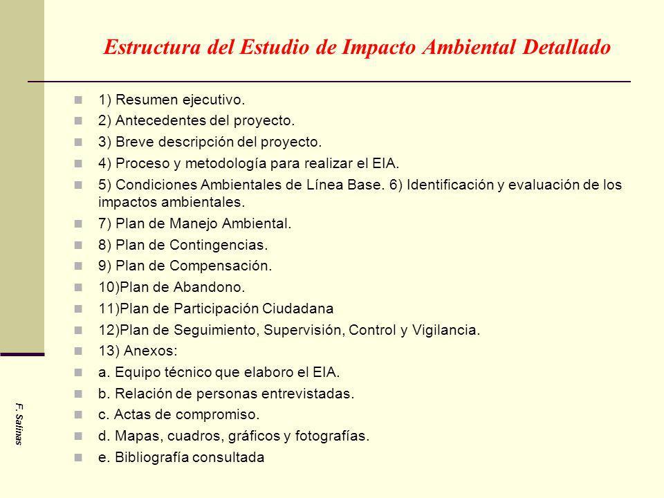 Estructura del Estudio de Impacto Ambiental Detallado 1) Resumen ejecutivo. 2) Antecedentes del proyecto. 3) Breve descripción del proyecto. 4) Proces