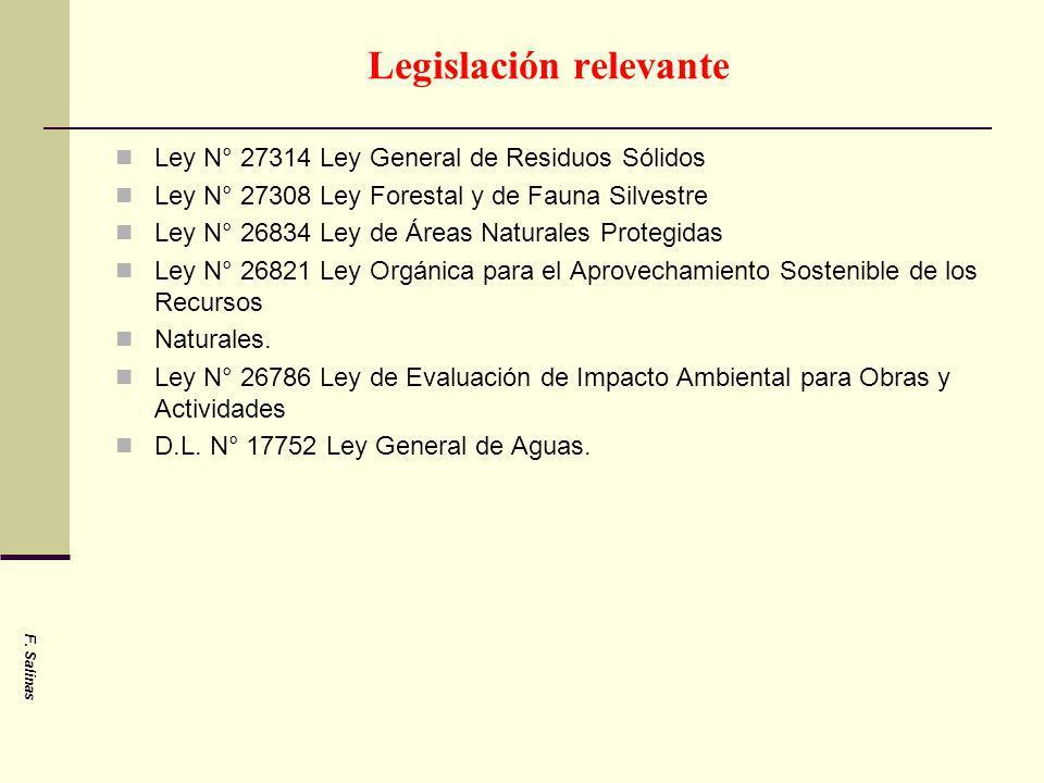 Legislación relevante Ley N° 27314 Ley General de Residuos Sólidos Ley N° 27308 Ley Forestal y de Fauna Silvestre Ley N° 26834 Ley de Áreas Naturales