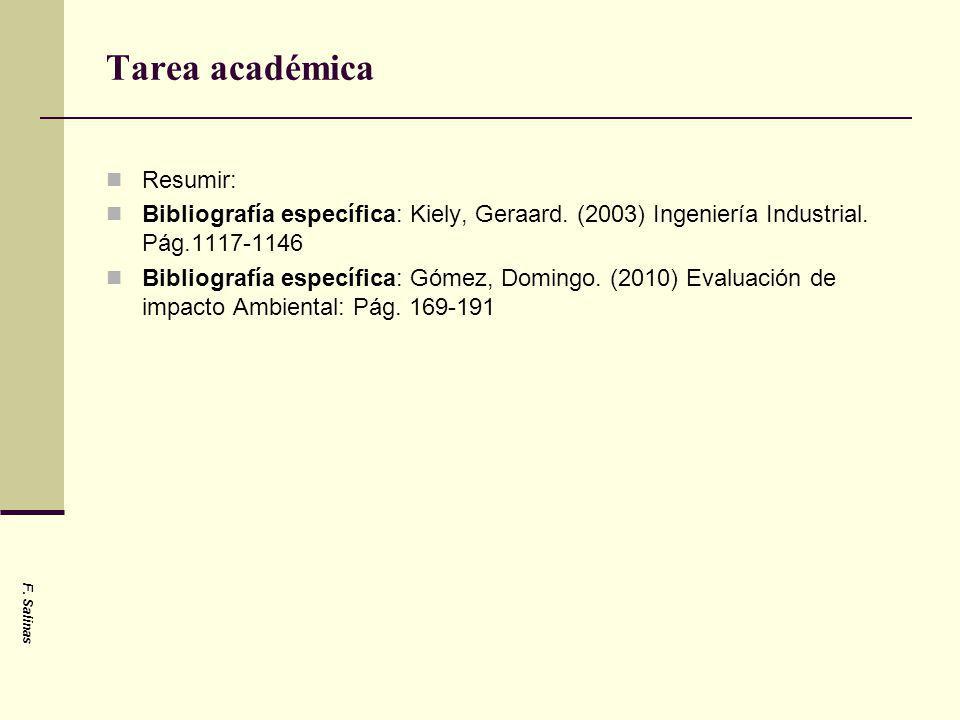 Tarea académica Resumir: Bibliografía específica: Kiely, Geraard. (2003) Ingeniería Industrial. Pág.1117-1146 Bibliografía específica: Gómez, Domingo.
