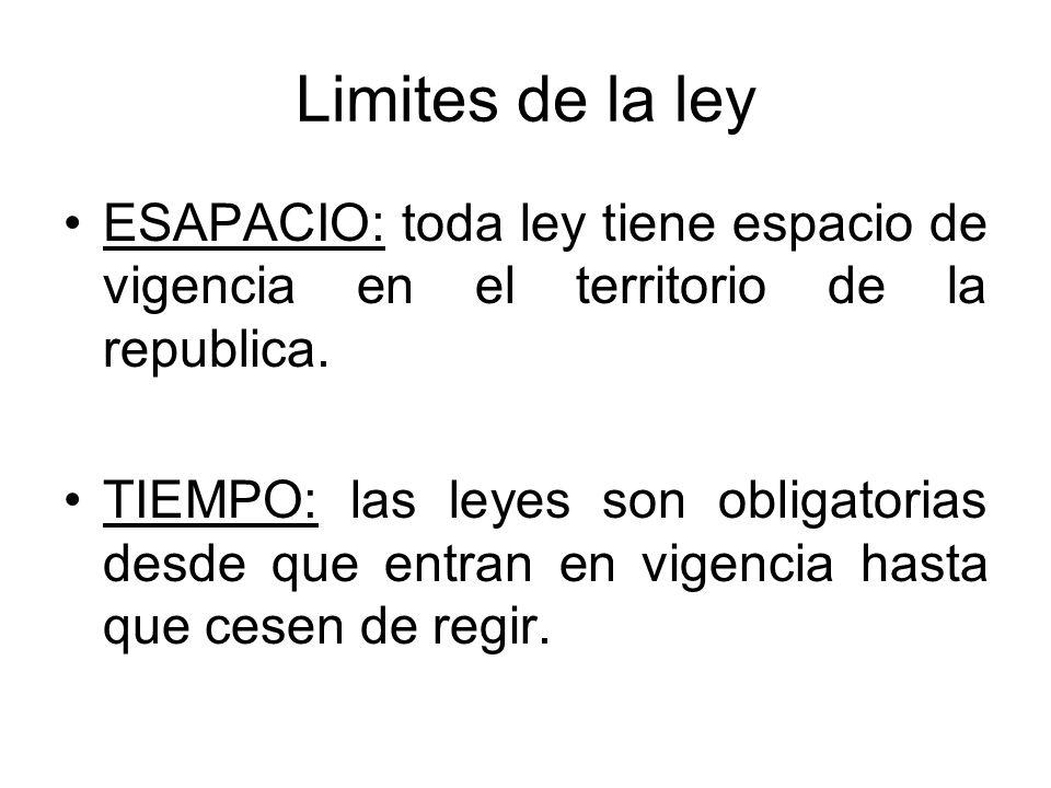 Limites de la ley ESAPACIO: toda ley tiene espacio de vigencia en el territorio de la republica. TIEMPO: las leyes son obligatorias desde que entran e