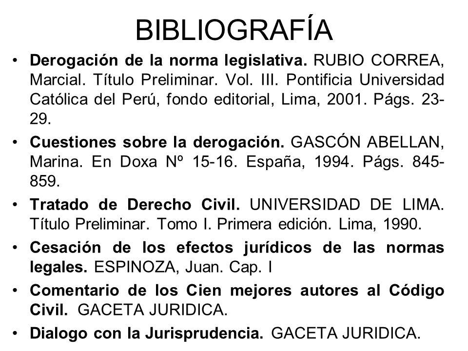 BIBLIOGRAFÍA Derogación de la norma legislativa. RUBIO CORREA, Marcial. Título Preliminar. Vol. III. Pontificia Universidad Católica del Perú, fondo e