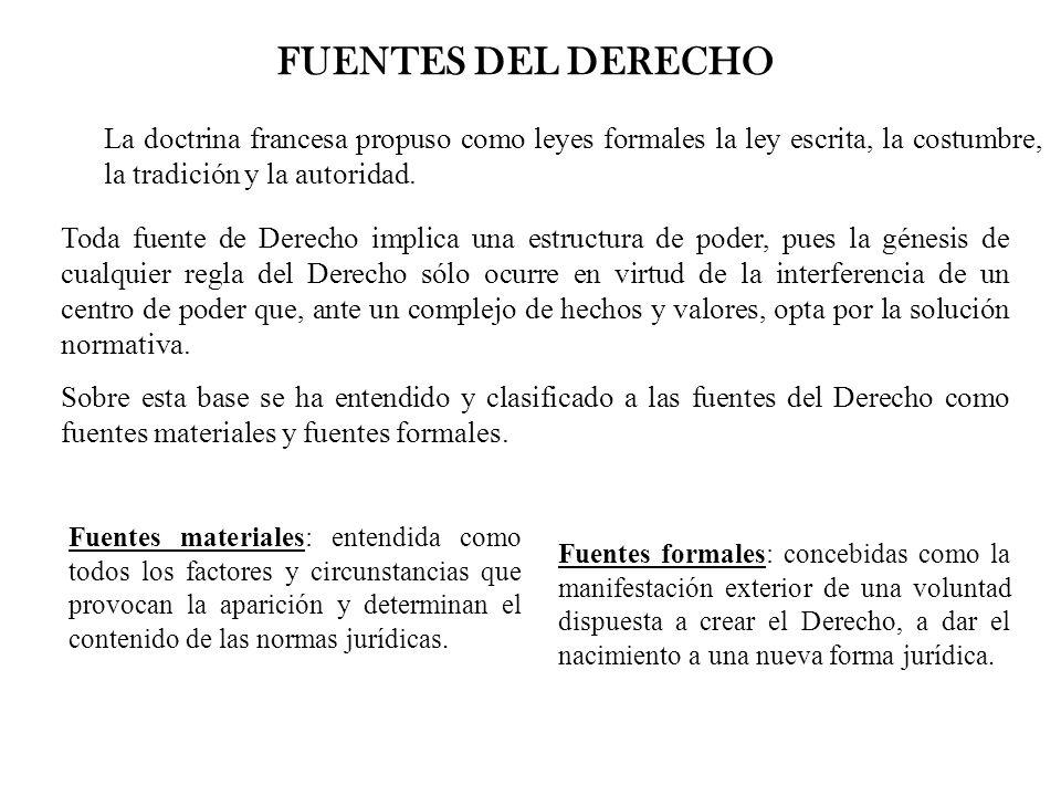 FUENTES DEL DERECHO La doctrina francesa propuso como leyes formales la ley escrita, la costumbre, la tradición y la autoridad. Toda fuente de Derecho