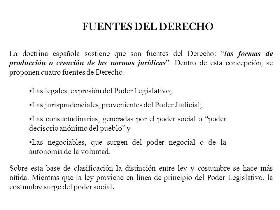FUENTES DEL DERECHO La doctrina española sostiene que son fuentes del Derecho: las formas de producción o creación de las normas jurídicas. Dentro de