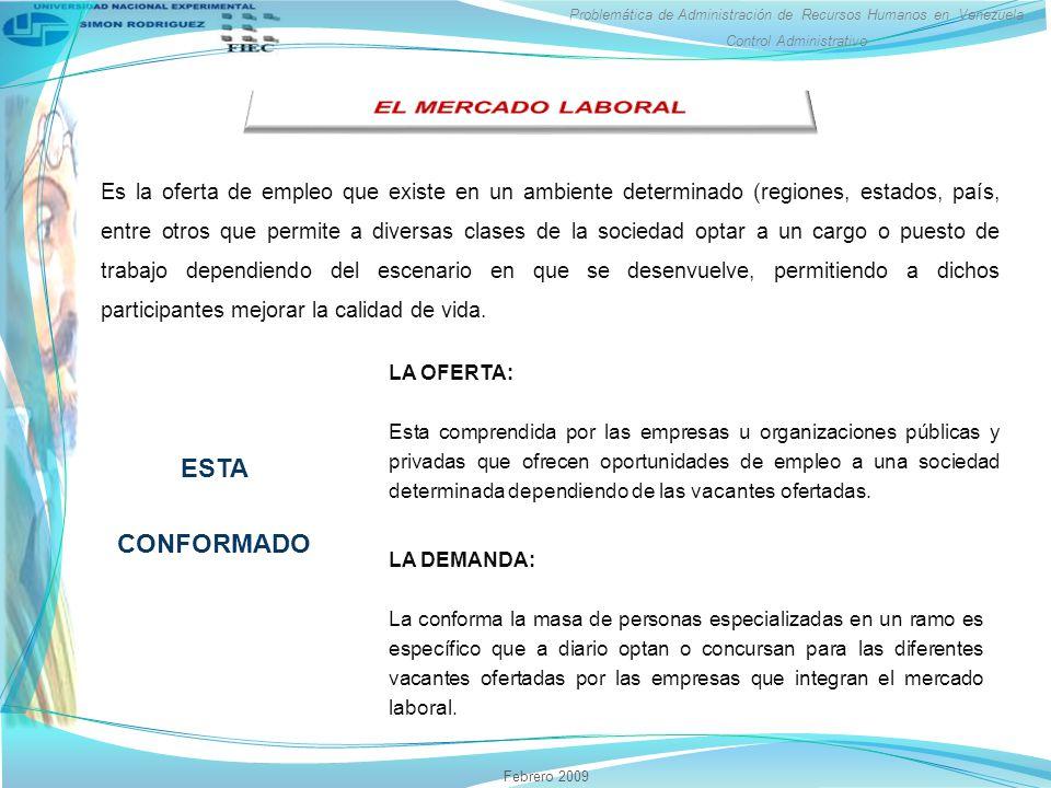 Problemática de Administración de Recursos Humanos en Venezuela Control Administrativo Febrero 2009 Es la oferta de empleo que existe en un ambiente d