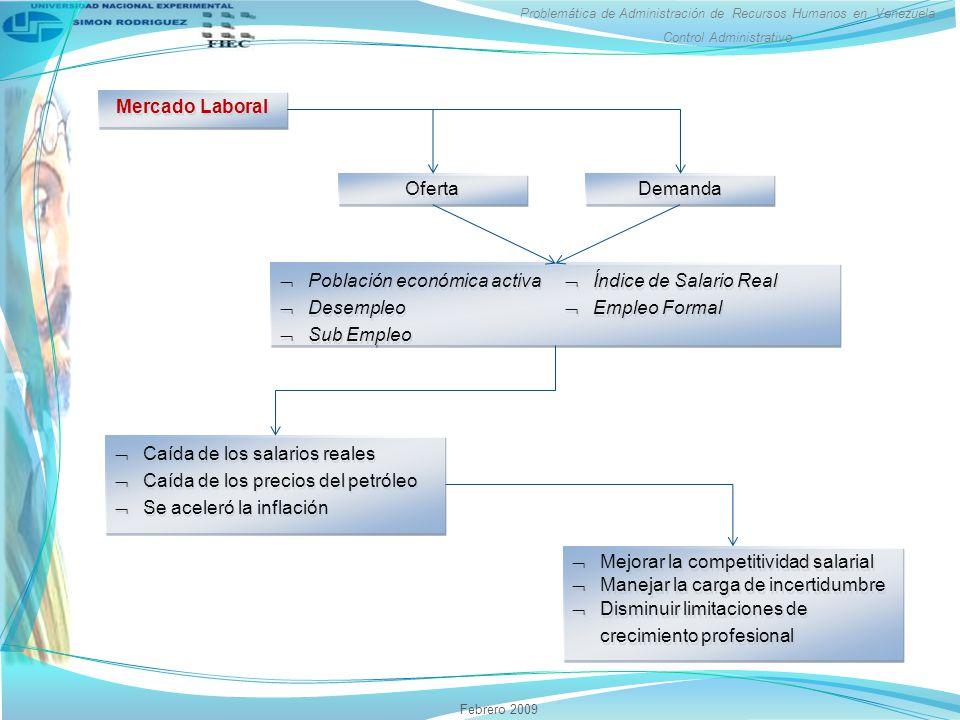 Problemática de Administración de Recursos Humanos en Venezuela Control Administrativo Febrero 2009 Mercado Laboral Oferta Demanda Población económica