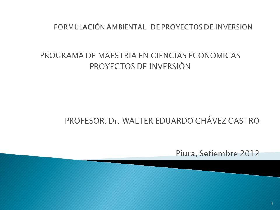 PROGRAMA DE MAESTRIA EN CIENCIAS ECONOMICAS PROYECTOS DE INVERSIÓN PROFESOR: Dr.