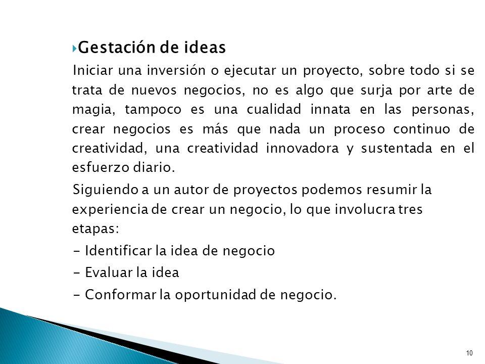 Gestación de ideas Iniciar una inversión o ejecutar un proyecto, sobre todo si se trata de nuevos negocios, no es algo que surja por arte de magia, tampoco es una cualidad innata en las personas, crear negocios es más que nada un proceso continuo de creatividad, una creatividad innovadora y sustentada en el esfuerzo diario.