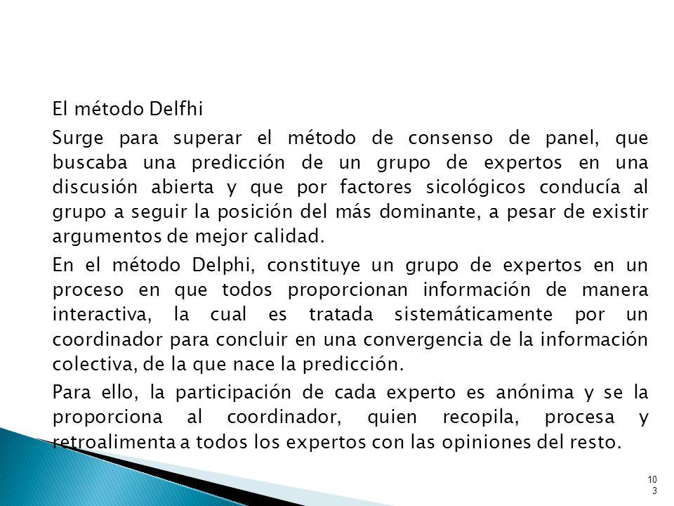 103 El método Delfhi Surge para superar el método de consenso de panel, que buscaba una predicción de un grupo de expertos en una discusión abierta y que por factores sicológicos conducía al grupo a seguir la posición del más dominante, a pesar de existir argumentos de mejor calidad.