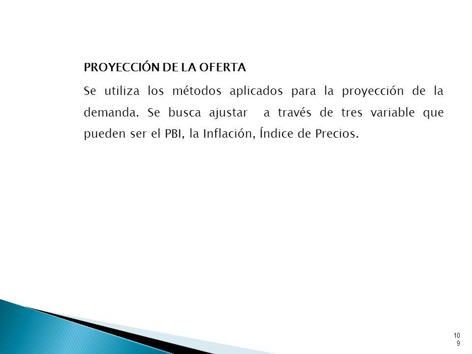 PROYECCIÓN DE LA OFERTA Se utiliza los métodos aplicados para la proyección de la demanda.